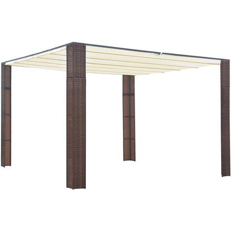 Cenador con techo ratán sintético 300x300x200 cm marrón y crema