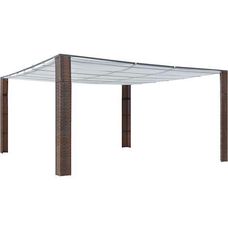 Cenador con techo ratán sintético 400x400x200 cm marrón y crema