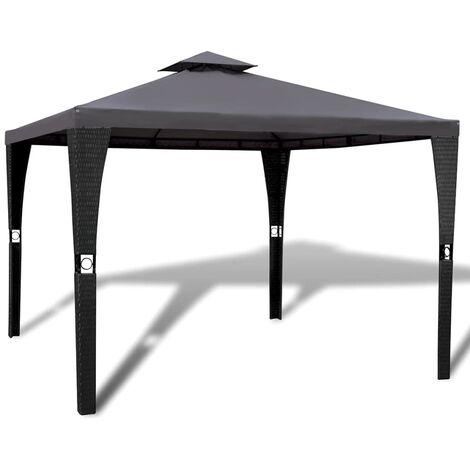 Cenador con tejado 3x3 m gris oscuro