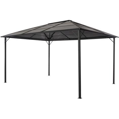 Cenador con tejado aluminio 4x3x2,6 m negro