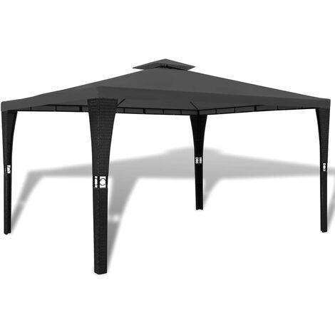 Cenador con tejado gris oscuro 3x4 m