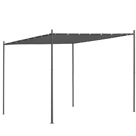 Cenador con tejado plano gris antracita 3x3x2,4 m