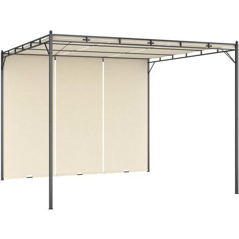 Cenador de jardín con cortina lateral color crema 3x3x2,25 m