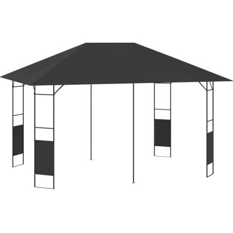 Cenador de jardin gris antracita 4x3 m 160 g/m2