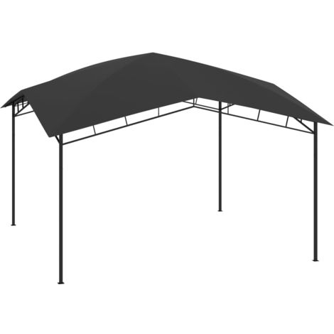 Cenador de jardin gris antracita 4x4x2,9 m 180 g/m2