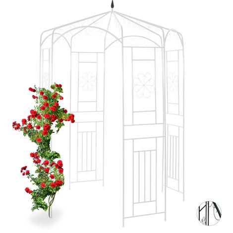 Cenador de jardín, Soporte para trepadoras, Metal, 250x160x160 cm, Blanco