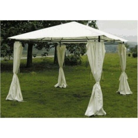 Cenador jardín 3x3 mt. natuur metálico beige con cortinas NT95610