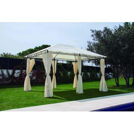 Cenador jardín 3x4 mt natuur metalico beige con cortinas NT102958