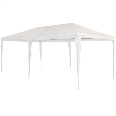 Cenador jardín en plástico blanco Garden 3x6xh2,5 m (Aktive 53992)