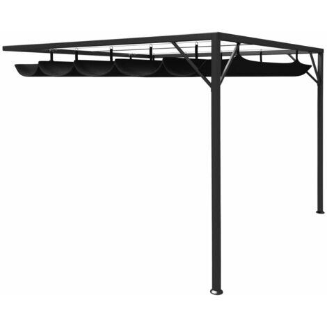 Cenador para pared con tejado retráctil gris antracita 3x3 m