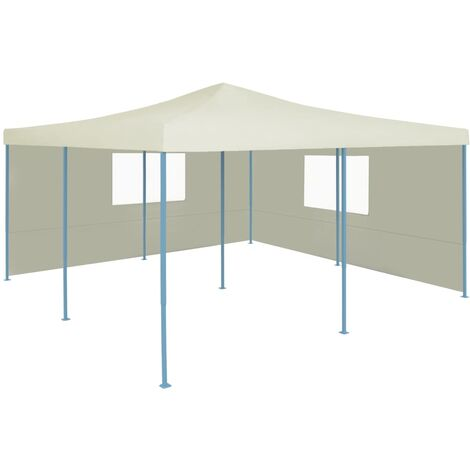 Cenador plegable con 2 paredes color crema 5x5 m