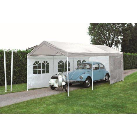 Cenador rectangular Car Parking 6x3 m de hierro | Blanco