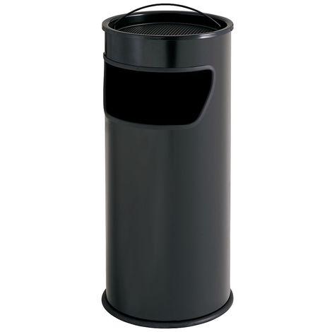 Cendrier-corbeille | acier peint époxy | Noir | 25 litres | 320x750 | Maxi | 1 pièce | medial - Noir