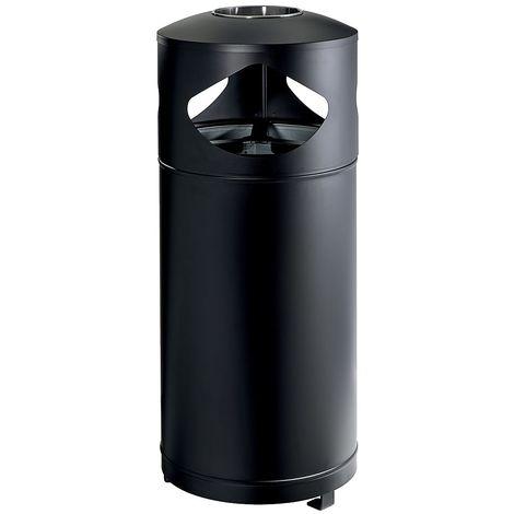 Cendrier corbeille tri sélectif   acier galvanisé à chaud peint époxy   Revêtement époxy   Noir   3 x 35 litres   - Noir