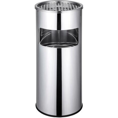 Cendrier extérieur design avec poubelle en acier inoxydable 30 litres acier - Noir