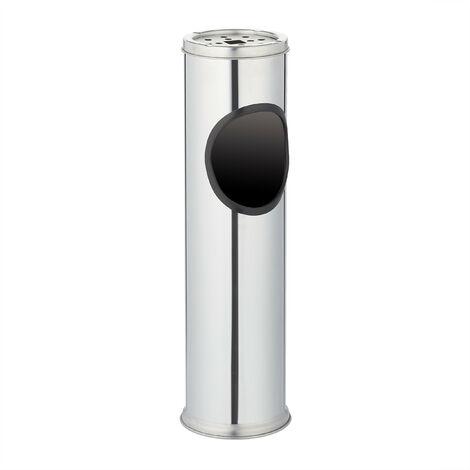 Cendrier sur pied avec poubelle Inox 52,5cm Ø 13, 5 cm amovible entrée bureau, gris argenté