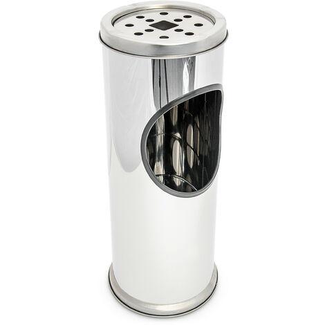 Cendrier sur pied en acier inoxydable poubelle jardin réception cendrier amovible Hauteur: 37 cm, gris argenté