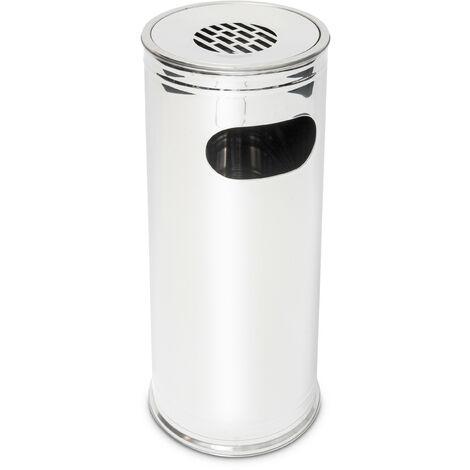 Cendrier sur pied Poubelle extérieure en acier inoxydable incluant un cendrier 75 cm de haut, gris argenté