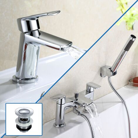 Centa Basin Mixer & Bath Shower Mixer Tap + Basin Waste