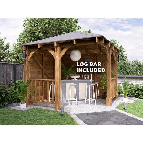 Centaur Garden Bar Gazebo W3m x D3m - Havy Duty Garden Shelter with Log Bar Included