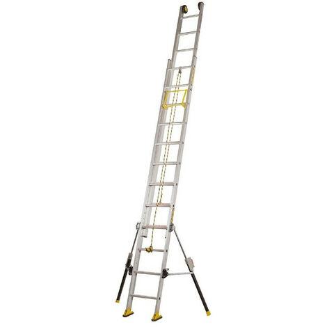Centaure - Echelle coulissante Aluminium à corde 2x14 Haut. accès 5,35 m - C2 STAB'