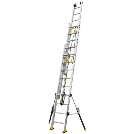 Centaure - Echelle coulissante Aluminium à corde 3x10 Haut. accès 5,65 m - C3 STAB'