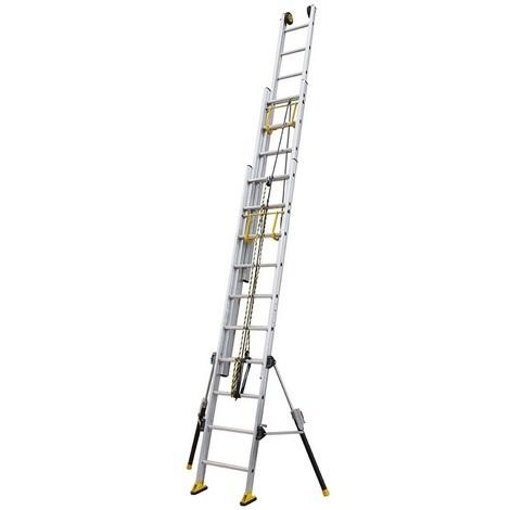 Centaure - Echelle coulissante Aluminium à corde 3x16 Haut. accès 9,95 m - C3 STAB'