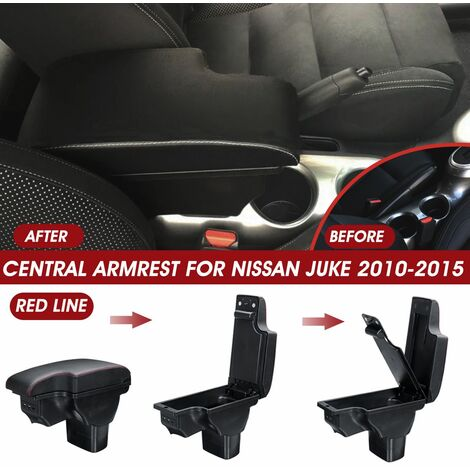 Center Armrest Console Storage Box Cup Handrail with USB for Nissan Juke 2010-15 (Red Line)