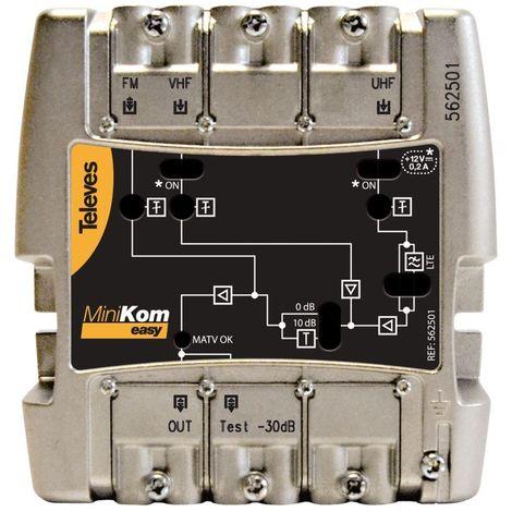Central amplificadora banda ancha MiniKom EasyF 3 entradas Televes 562501