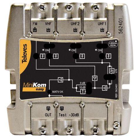 Central amplificadora banda ancha MiniKom EasyF 4 entradas Televes 562401