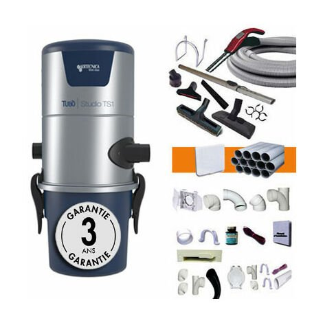 Centrale d'Aspiration Aertecnica TS1 Sans Sac - Jusqu'à 250m2 - 3 ans de Garantie - Avec 1 kit flexible 9m et 8 accessoires + kit 3 prises + kit clapet de cuisine + kit prise garage