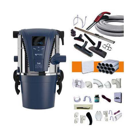 Centrale d'Aspiration Aertecnica TX1A - Jusqu'à 250m2 - 3 ans de Garantie - Avec 1 kit flexible 9m et 8 accessoires + 1 kit 3 prises + 1 kit prise balai + 1 kit prise garage