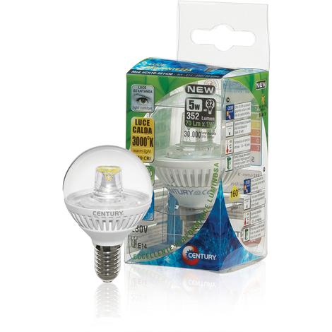 Century Bombilla LED M-Globe Clear de cerámica tipo E14, 352 lumens, temperatura color 3000ºK