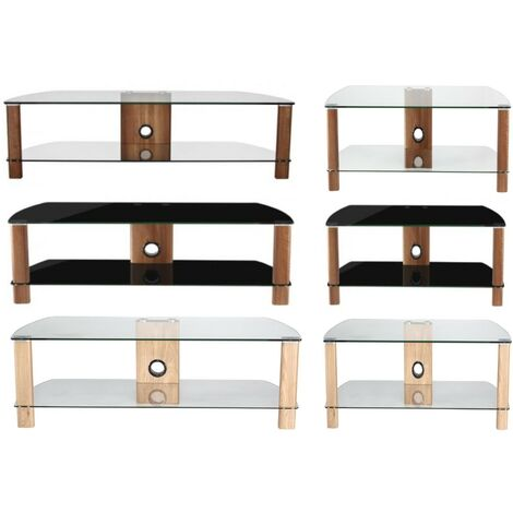"""main image of """"Century Walnut & Black Glass TV Cabinet Stand Unit For Up To 55"""" Screen"""""""