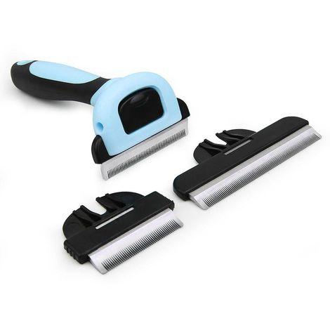 Cepillo de Aseo para Animal Doméstico, Peine de Descarga, Azul, S (5 cm) M (6,6 cm) L (10 cm), Tamaño de la manija: 13 x 5 cm