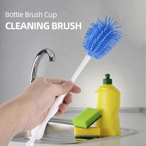 Cepillo de botella Copa del cepillo de botella del limpiador dispensacion Copa cepillo cepillo de limpieza de tazas de cristal azul,