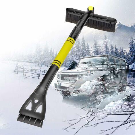 """main image of """"Cepillo de nieve expandible 2 en 1 LITZEE, raspador de hielo con cepillo de nieve de espuma giratorio de 360 ° para parabrisas de coche, camión, SUV, amarillo"""""""