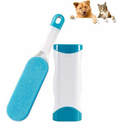 Cepillo de pelo para gatos y perros LITZEE - Cepillo de limpieza mágico Removedor de pelo reutilizable - Cepillo de pelo para mascotas Limpieza mágica para perros y gatos (Ropa / Sofá / Coche / Cama), Azul