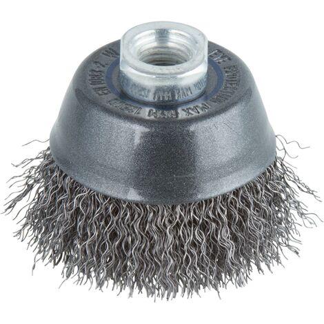 Cepillo metálico en copa para amoladoras rosca M 14 Ø 70 mm en blister