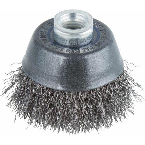 Cepillo metálico en copa para amoladoras rosca M 14 Ø 75 mm suelto