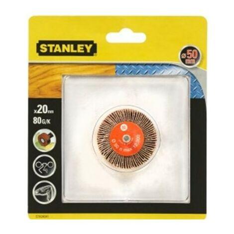 Cepillo para taladro hojas lija 050x020mm gr80 stanley