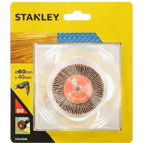 Cepillo Para Taladro Hojas Lija Grano 080 060X040Mm Stanley
