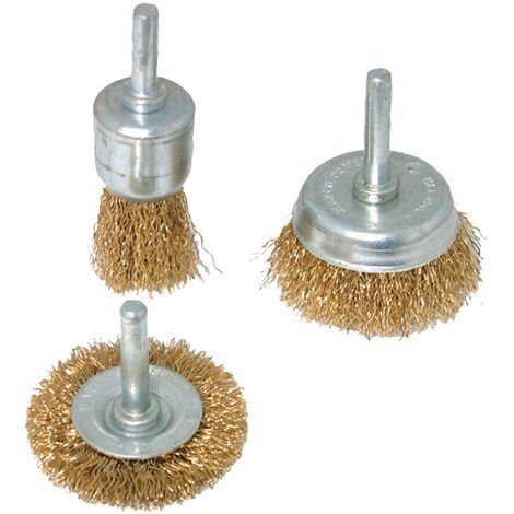Cepillos y brochas de acero latonado, 3 pzas - NEOFERR