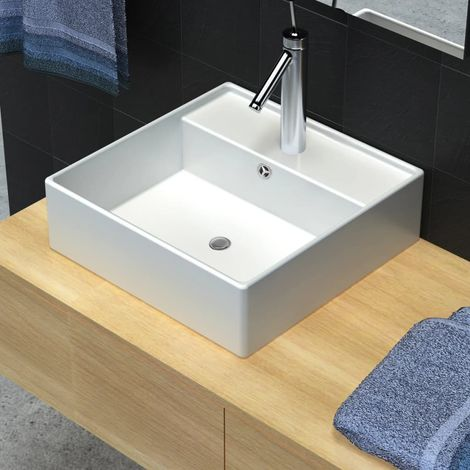 Ceramic Basin Square with Overflow and Faucet Hole 41 x 41 cm VD03672