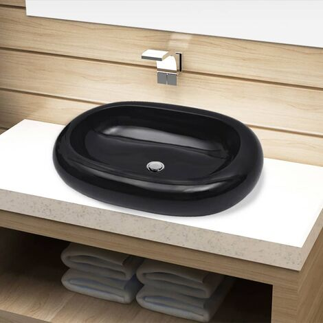 Ceramic Bathroom Sink Basin Black Oval - Black
