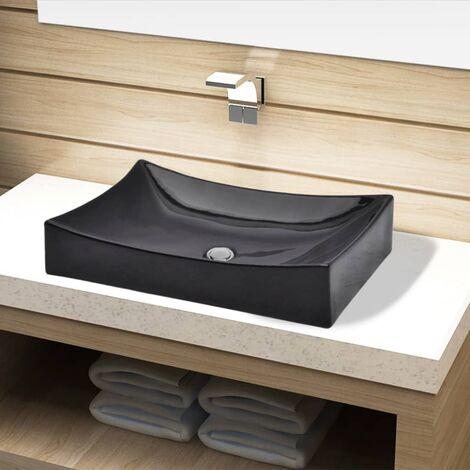 Ceramic Bathroom Sink Basin Black Rectangular - Black