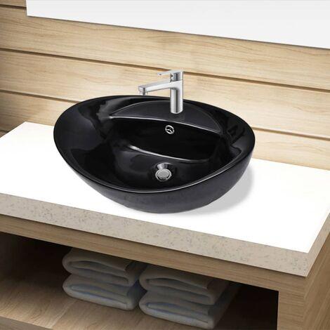 Ceramic Bathroom Sink Basin Faucet/Overflow Hole Black Oval