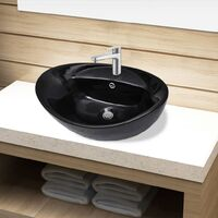 Ceramic Bathroom Sink Basin Faucet/Overflow Hole Black Oval