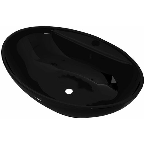 Ceramic Bathroom Sink Basin Faucet/Overflow Hole Black Oval - Black