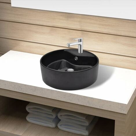 Ceramic Bathroom Sink Basin Faucet/Overflow Hole Black Round